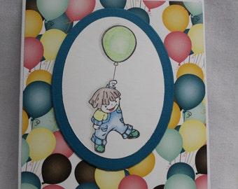 Boy with Balloons Birthday card, Birthday card, balloon birthday card, Handstamped birthday card, boy birthday card