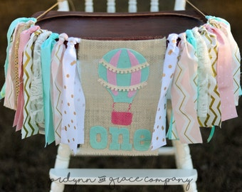 Hot air balloon birthday garland/high chair banner/smash cake prop/pink/teal/gold