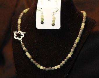 Green Aventurine and Russian Serpentine 2 Piece Set--Gem Beads