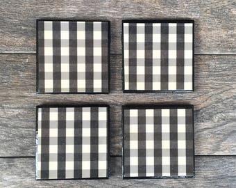 Black and White Buffalo Plaid Ceramic Coasters with Black Trim