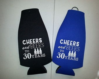 NEW BIRTHDAY BOTTLE Coolies w/ zipper! dirty 30, 40th, 50th, any age, birthday party favor, customized bottle coolies