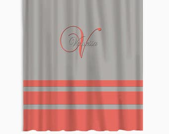 Simple Stripes Shower Curtain With Coral Accent Personalized Coordinate Bath Mat And