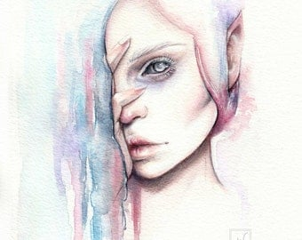 "Original watercolor portrait painting elf ""Alv"""