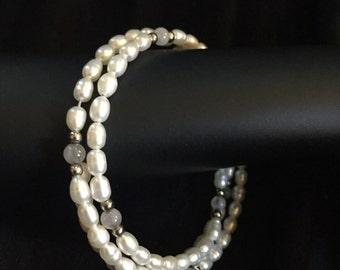 Vintage Faux Pearl Wraparound Bracelet