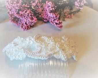 Vintage bridal headpiece / bridal headpiece of lace and rhinestones / Vintage/comb wedding headpieces-wedding-romantic style/boho style /tocados