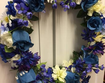 Wreath  Door wreath blues and white 104