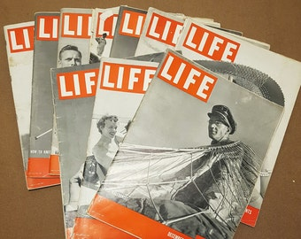 Pack of Ten Vintage LIFE Magazines From 1941-42