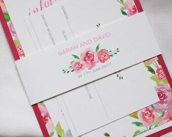 Handpainted Watercolour Roses Wedding invitation - Sample Set + Voucher