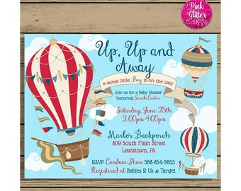 Hot Air Balloon Baby Shower Invite, Hot Air Balloon Shower, Hot Air Balloon Invite,  Hot Air Balloon Invitation,  Baby Shower Invitation