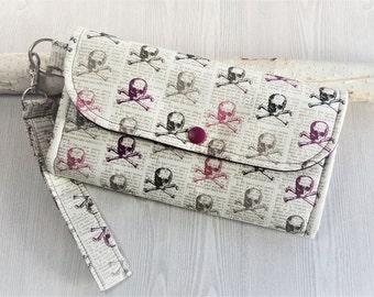 Womens Wallet in Purple Skulls, Accordion wristlet wallet, Slim clutch wallet, handmade fabric wristlet, credit card, checkbook phone wallet
