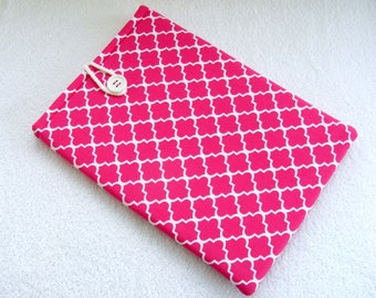 """Pretty Pink and White Print,  IPad Pro 12.9 Cover, Kindle DX Case, Kindle DX White Cover Sleeve, Padded Tablet Cover Sleeve,  13""""x 8 3/4"""""""