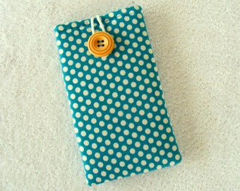 """Turquoise White Polka Dots, IPhone Cover, IPhone Case, Cell Phone Cover, Cell Phone Case, IPhone 6 Cover, IPhone 7 Cover,  6 1/4"""" x 3 1/2"""""""