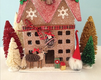 Glitter House, Tomte,  Christmas Decoration, Santa, Elf, Putz, Scandinavian Christmas, Reindeer, Putz House, Christmas House
