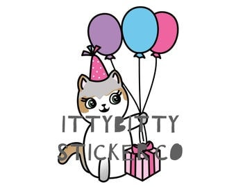 Happy Birthday Mauly - Hand Drawn IttyBitty Kitty Collection - Hand Drawn Planner Stickers