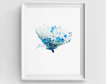 Blue Butterfly, Butterfly Print, Digital Butterfly, Butterfly Art, DIY Wall Art, Large Printable, Room Decor, Watercolor Butterfly, Poster
