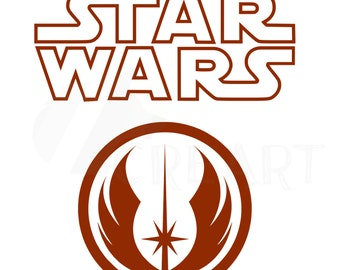 Star Wars Silhouette, Jedi Order logo printable clipart file in svg png jpg pdf and vector dxf cdr AI files for Circuit & Silhouette