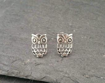 Genuine 925 Sterling Silver Owl Stud Butterfly Back Earrings Gift Boxed