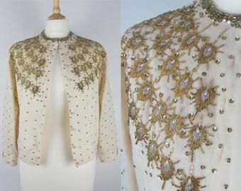 50s Vintage Gold and Cream Beaded Sequin Statement Cardigan- Small/Medium