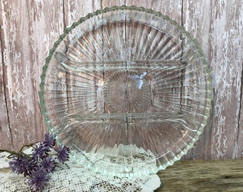 Vintage Relish Tray/Cut Glass/Four Section/Serving Platter