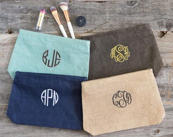 Personalized Zipper Pouch, Birthday Gift for Her Cosmetic Bags, Monogrammed Makeup Bags, Best Make Up Bag, Custom Gift for Her 531908591