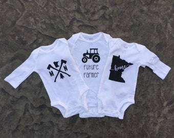 Baby Onesie, Baby Bodysuit, Minnesota Baby Onesie, State Onesie