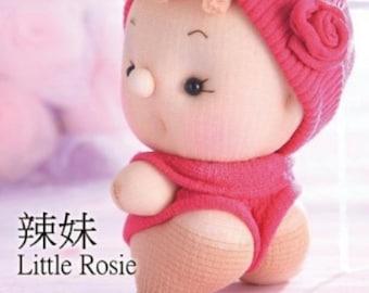 sock doll kit, soft doll sculpturing, soft doll making, baby shower gift, home decor---Little Rosie