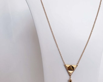 Triangular Gold Pendant Attachable Necklace With Gold Chain Tassel