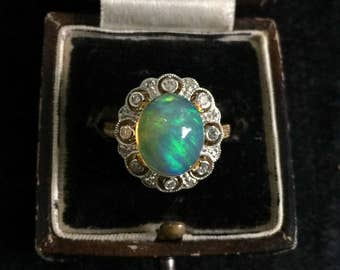 Retro 18k gold large opal and diamond ring