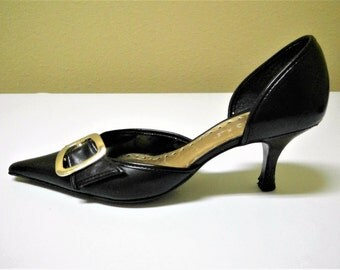 Vintage BCBGirls Black Leather Pumps - Size 6B/36