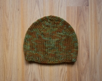 Forest Green Kid's Hat, Toddler Hat, Christmas Gift/Hanukkah Gift, Camouflage Hat, Winter Snow Hat, Soft Peruvian Wool, Made in USA
