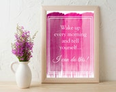 8x10 Wall Print (Unframed) - Wake Up Quote - Berry Theme