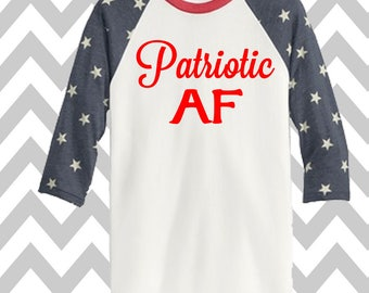 Patriotic AF 3/4 Sleeve Baseball Tee Unisex 4th of July Patriotic T-Shirt Memorial Day Tank Funny Drinking Shirt 'MERICA Lake Shirt