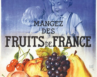 Vintage French Fruit Advertising Poster A3 Print