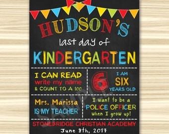 Last Day Of Kindergarten Sign. Last Day Of School Sign Printable. Last Day Of  Preschool Sign Printable. Graduation Chalkboard Sign.