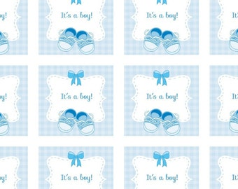 It's a boy square stickers / Baby Shower stickers / Boy baby shower stickers