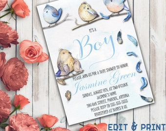 It's A Boy Baby Shower Invitation, Boy Baby Shower Invitation, Baby Shower For Boy, Feather, Watercolor, Bird, Bohemian, Instant Download