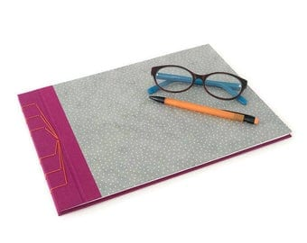 Hardback Stab Bound Sketchbook or Journal - Raspberry Bookcloth, Grey Polka Dot Lokta Paper and Orange Linen Thread