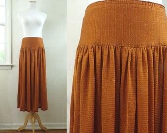 """silk missoni skirt size large   31-32"""" waist   orange metallic silver skirt, missoni for bullocks skirt, midi skirt, boho skirt, 70s 1970s"""