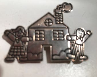Lucy Ann Sterling Silver House Brooch with a Girl and a Boy