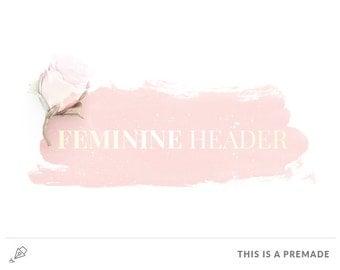 Premade Blogger Header Design / Premade Blog Header / Watercolor logo / Feminine blog logo