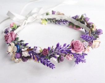 Wedding Flower Crown \ Lavender Floral Crown Wedding Headband  Lavender Wedding Bridal Crown Floral Headband