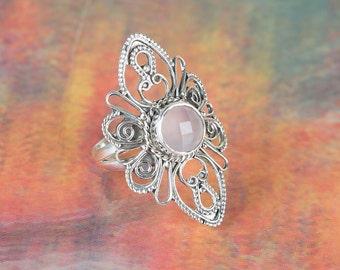 Silver Handmade Ring, Sterling Silver Jewelry, Rose Quartz Gemstone Ring, Rose Quartz Gypsy Ring, Rose Quartz Engagement Ring