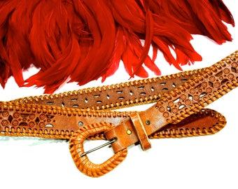 VINTAGE: Tooled Woven Boho Leather Belt - Stamped Leather Belt - Floral Belt - SKU 19-D1-00008382