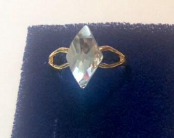Swarovski ring, Crystal clear ring, Rhombus shaped ring, Diamond shaped ring, Swarovski statement ring item333 by CraftyLittleMonkeyGB
