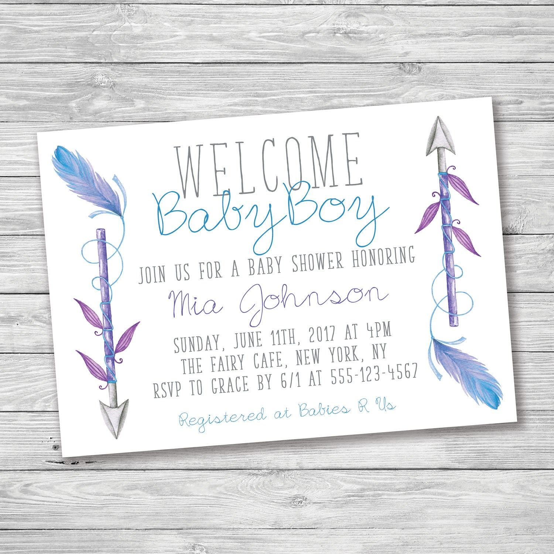 Welcome Baby Boy Baby Shower Invitation, Baby Shower Invitation ...