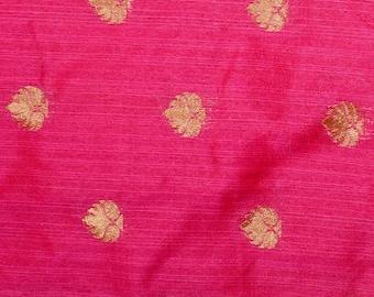 Half Yard of Dark Pink and Golden Flower Pattern Brocade Silk Fabric, Indian Silk Fabric, Brocade Fabric