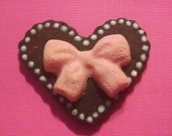 Carob Heart with Bow *Grain free * Coconut Flour* Valentine's Day