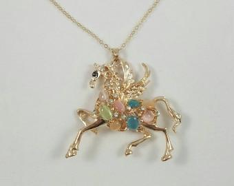 Pegasus Necklace, Gold Pegasus, Winged Horse, Jeweled Pegasus