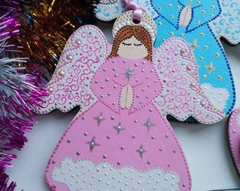 Christmas in july Custom name Guardian Angel Hand painted angel Wood toys Rearview mirror Zipper charms Children newborn gifts Personalised