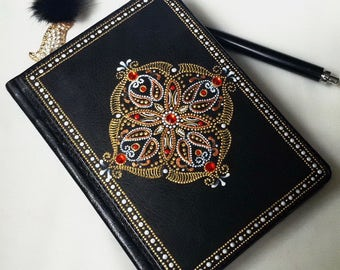 A6 Oriental style leather diary Hand painted notebook Vegan leather Womens lined journal College student gift Boss lady gift Stationery gift